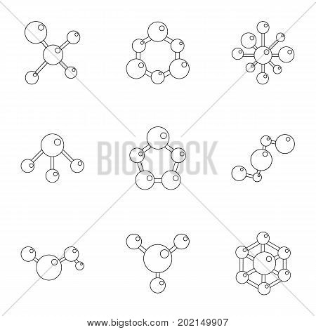 Molecular structure icons set. Cartoon illustration of 9 molecular structure vector icons for web design