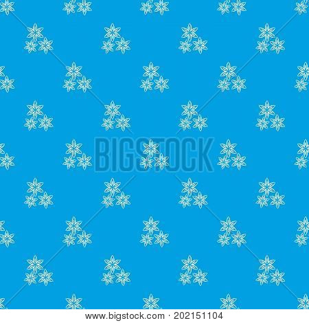 Star anise pattern repeat seamless in blue color for any design. Vector geometric illustration