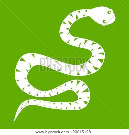 Black snake wriggling icon white isolated on green background. Vector illustration