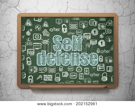 Protection concept: Chalk Blue text Self Defense on School board background with  Hand Drawn Security Icons, 3D Rendering