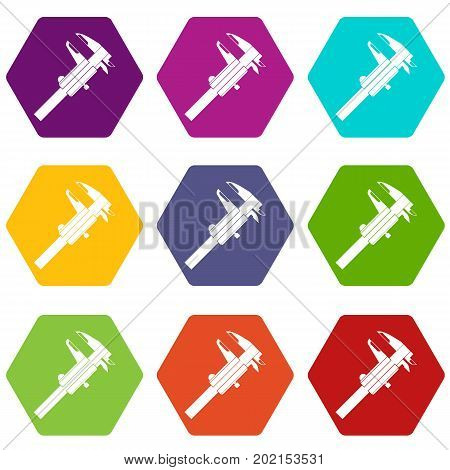 Calipers icon set many color hexahedron isolated on white vector illustration