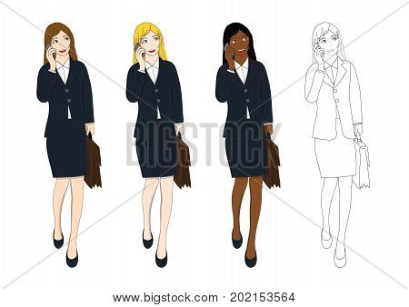 Set Cute Business Woman Talking on Phone and holding a Brief Case while Walking. Full Body Vector Illustration. isolated on White Background