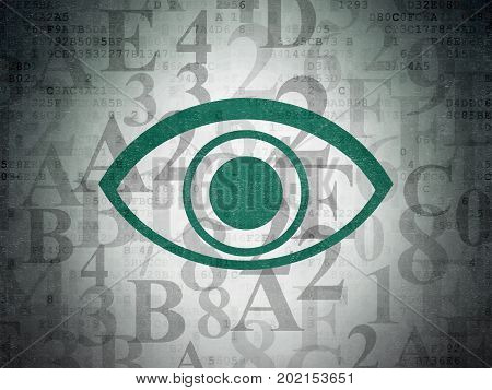 Security concept: Painted green Eye icon on Digital Data Paper background with  Hexadecimal Code