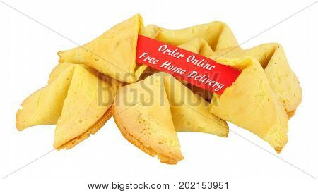 Fortune cookies with order online and free home delivery message isolated on a white background