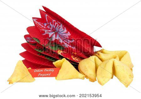 Fortune cookies with orders freshly prepared message isolated on a white background