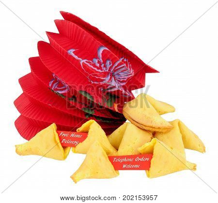 Fortune cookies with free home delivery and telephone orders welcome message isolated on a white background