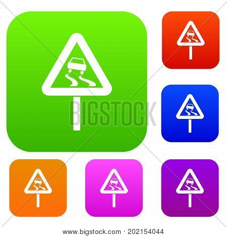 Slippery when wet road sign set icon in different colors isolated vector illustration. Premium collection