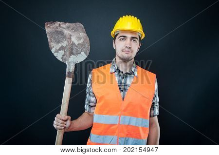 Constructor Wearing Equipment Holding Digging Hoe