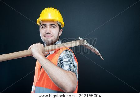 Constructor Wearing Equipment Carrying Digging Hoe