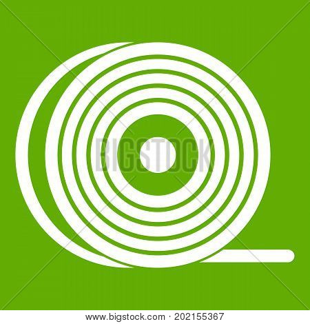 Abs or pla filament coil icon white isolated on green background. Vector illustration
