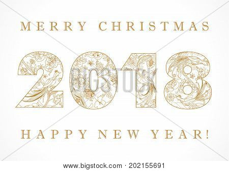 Happy holidays card with golden ethnic patterns and birds of paradise in 2018 figures. 2018 national pattern happy holidays card. Luxurious greeting design in folk patterns and text Merry Christmas & Happy new year!