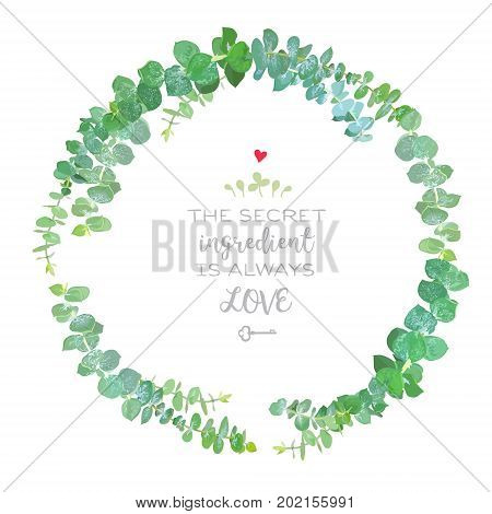 Baby blue eucalyptus simple round vector design frame. Watercolor style branches bouquet. Hand painted watercolor style eucalyptus isolated elements. Vector greenery illustration for wedding design.