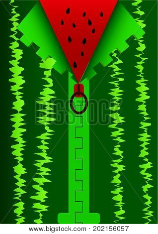 Background With Zipper. Vector Illustration Mimic Watermelon Cutting.