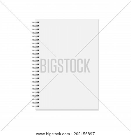 Mock up blank closed notebook isolated on white background. Template spiral copybook or organizer. Vector illustration