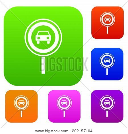 Prohibiting traffic sign set icon in different colors isolated vector illustration. Premium collection