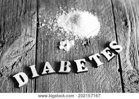 Sweetener Tablet And Sugar. Text Diabetes Wooden Letters.
