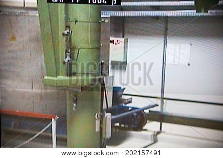 CHERNOBYL UKRAINE - OCTOBER 16 2015: Monitoring nuclear reprocessing in a control room at Chernobyl Nuclear Power Plant. Shot from the display of video surveillance.