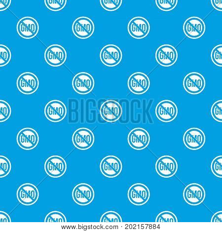 Stop GMO pattern repeat seamless in blue color for any design. Vector geometric illustration