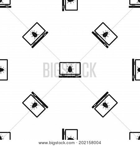 Laptop pattern repeat seamless in black color for any design. Vector geometric illustration