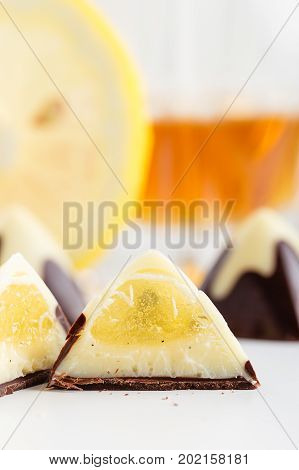 Cut Handmade Chocolate Bonbon With Vanilla And Lemon Filling