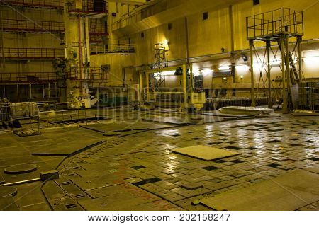 Graphite-moderated nuclear power reactor (RBMK or High Power Channel-type Reactor). Chernobyl Nuclear Power Plant.