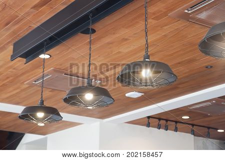Beautiful and classic lamp in cafe Interior concept