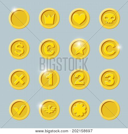 Gold coins set. Gold coin isolated on dark background. Gold coin, flat vector illustration.