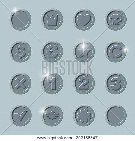 silver coins set. silver coin isolated on dark background. silver coin, flat vector illustration.