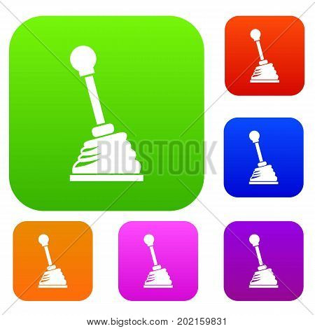 Gear stick set icon in different colors isolated vector illustration. Premium collection
