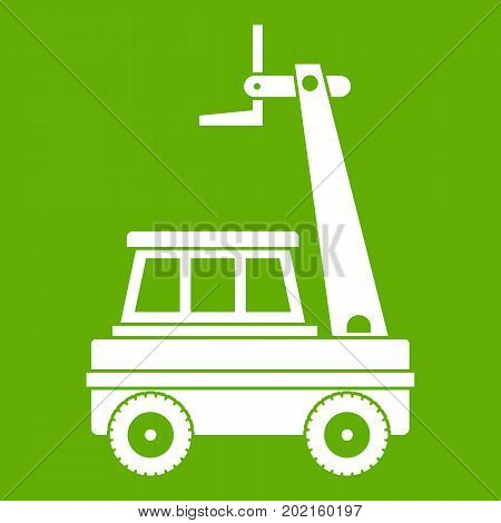 Cherry picker icon white isolated on green background. Vector illustration