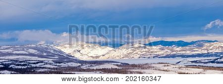 Winter Taiga Frozen Lake Laberge Yukon T Canada