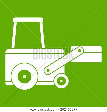 Truck to lift cargo icon white isolated on green background. Vector illustration