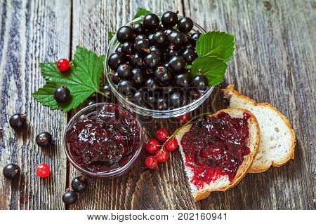 Black currant jam. Berries of a currant and a sandwich with jam. Sweet breakfast.