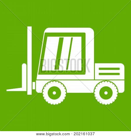 Stacker loader icon white isolated on green background. Vector illustration