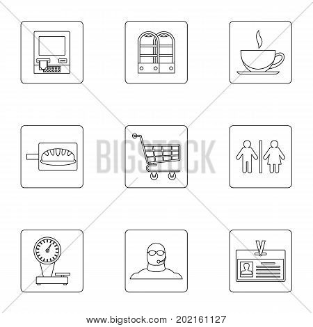 Shopping icons set. Outline illustration of 9 shopping vector icons for web design