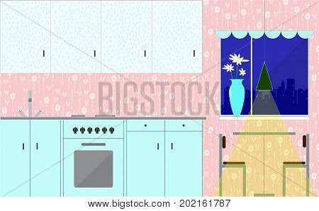 Kitchen with furniture. Cozy night kitchen interior with table stove cupboards. Flat style vector illustration.