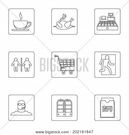 Shop icons set. Outline illustration of 9 shop vector icons for web design