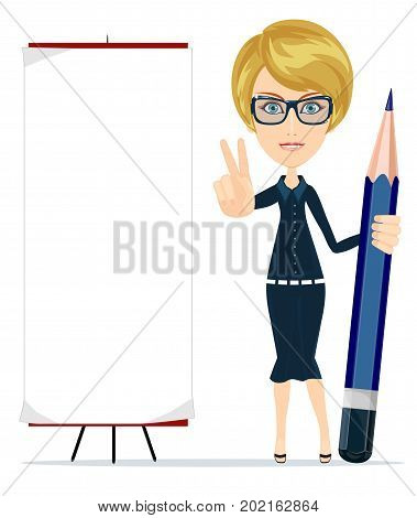 Woman holding a pencil and pointing to a blank poster. Stock vector illustration for poster, greeting card, website, ad, business presentation, advertisement design.