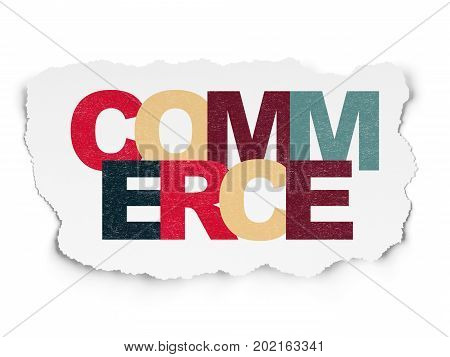 Finance concept: Painted multicolor text Commerce on Torn Paper background