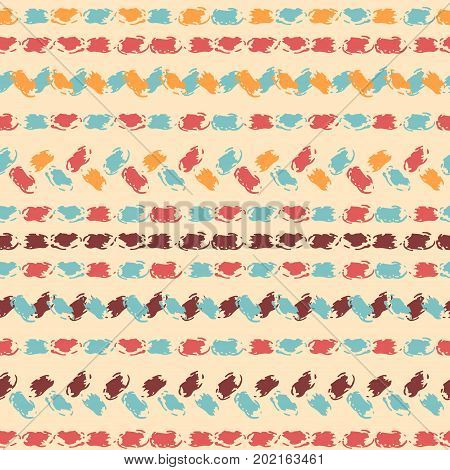 Pastel colored hand painted chevron and stitch ornament borders grunge seamless pattern, vector background