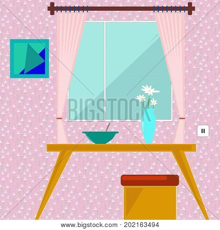 Dining room interior. A dinner table with chairs a chair a window a bowl of soup and a vase of flowers. On the wall wallpaper and picture. Vector illustration