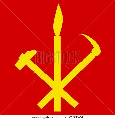 WPK DPRK. Hammer sickle and calligraphy brush symbol of Workers Party of North Korea. Vector illustration