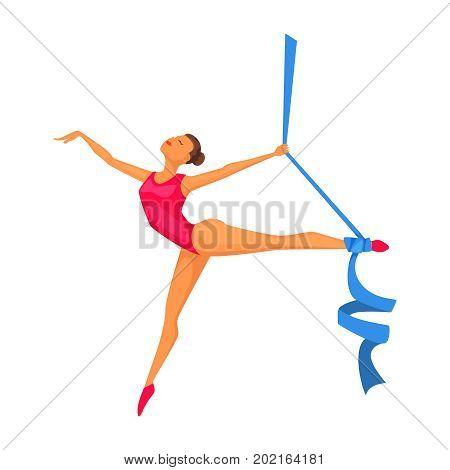 Young gymnast woman with ribbon. Rhythmic Gymnastic female. Olympic athlete. Artistic gymnastics, ballet, yoga, gym, fitness sports. Cartoon vector character design