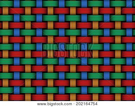 Vector Colored Interweaving Fiber Seamless Pattern
