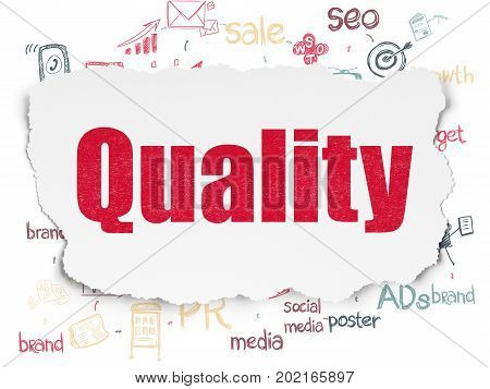 Advertising concept: Painted red text Quality on Torn Paper background with Scheme Of Hand Drawn Marketing Icons
