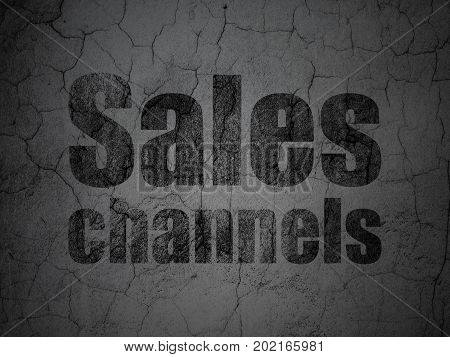 Marketing concept: Black Sales Channels on grunge textured concrete wall background