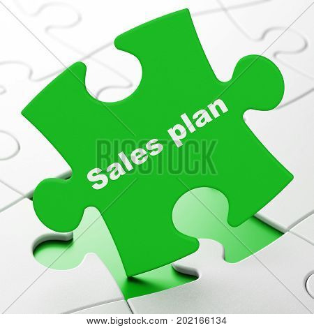 Advertising concept: Sales Plan on Green puzzle pieces background, 3D rendering