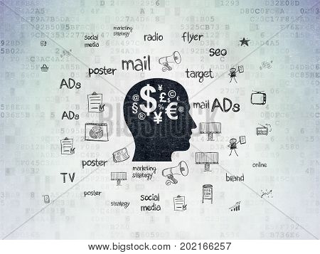 Marketing concept: Painted black Head With Finance Symbol icon on Digital Data Paper background with  Hand Drawn Marketing Icons