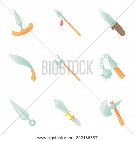 Historical arms icons set. Cartoon set of 9 historical arms vector icons for web isolated on white background