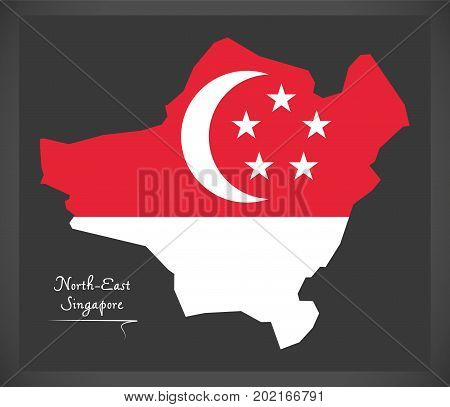 North-east Singapore Map With National Flag Illustration